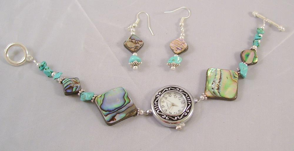 Abalone & Turquoise Beaded Watch